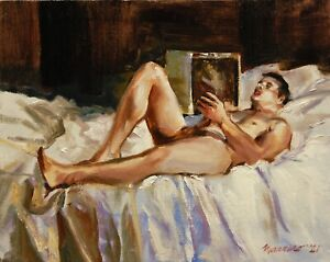 """Reclining Nude Male Figure Oil Painting Signed on Stretched Canvas 8""""x10"""""""