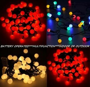 Berry LED Fairy Lights Battery Operated Ball Shaped Holly String Xmas Christmas