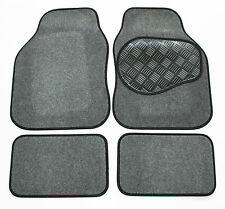 Saab 9-3 Convertible Grey & Black Carpet Car Mats - Rubber Heel Pad