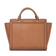 MICHAEL KORS Brandi Satchel LUGGAGE Tan PURSE Leather FALL Top Zip Gold NWT $368
