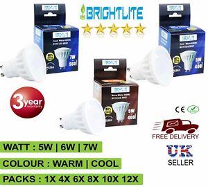 LED GU10 BULB 5W 6W 7W LAMPS SPOT LIGHT COOL WHITE WARM WHITE BULBS NONDIMMABLE