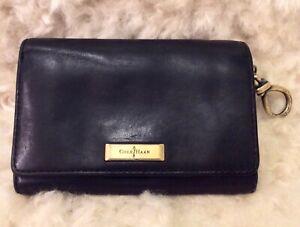 COLE HAAN Women's Black Leather Bi-fold Wallet Billfold Coin Purse Knot Zip Pull