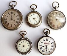 5 x POCKET WATCHES - ANTIQUE - RARE - 4 x SILVER CASED 1 x GUNMETAL MAPPIN BROS