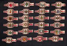 Série complète de 24  Bagues  de Cigare Label Taf BN10395 Blasons Pays