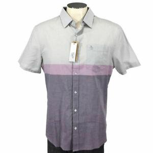 Original Penguin Heritage Slim Fit Button Shirt L Short Sleeve Skate Men NWT $80