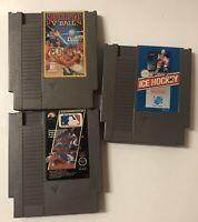 3 Game Lot Nintendo Entertainment System NES Superspike V Ball Ice Hockey MLB