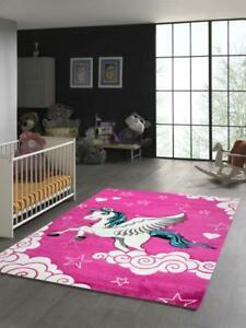 Kinderteppich Einhorn mit Pink Creme Türkis