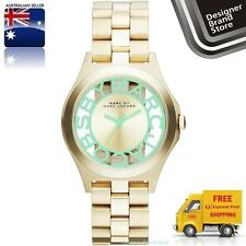 New Marc By Marc Jacobs Ladies Watch Mini Henry Skeleton Gold Mint Green MBM3295