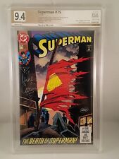 SUPERMAN #75 PGX SS 9.4 DEATH OF SUPERMAN 1993 SIGNED BY MIKE CARLIN - LIKE CGC