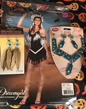 Dreamgirl tribal princess indian Pocahontas Costume W/ Jewelry Extras Deluxe Med