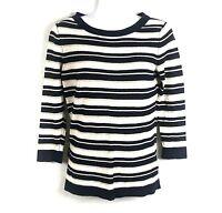Banana Republic Women's M Top Knit Sweater Shirt Striped Navy Ivory Gold Medium