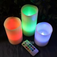 """Set of 3 (4"""" 5"""" 6"""") LED Flameless Candles 12 Color Changing w/ Remote Glow USA"""