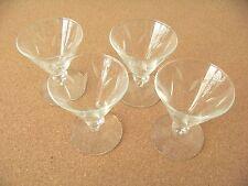 4 - cocktail dessert square stemware glasses glass cut etch cattail leaf design