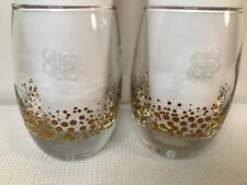 Pair of Baileys Irish Cream Liqueur Frosted Glasses Thick Bubble Base Design NEW