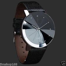 Cuero de los hombres de lujo banda de acero inoxidable reloj de cuarzo Dial