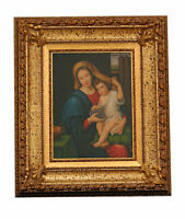 Quadro dipinto Madonna con bambino cm 30x40 cornice cm 60x70 Mary and baby Jesus