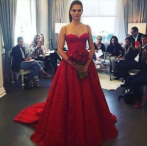 Stunning Red Lace ballgown wedding dress, detachable chapel train,UK tailor made