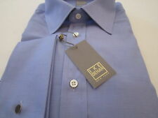 NWT IKE BEHAR NEIMAN MARCUS INDIGO BLUE SOLID SHIRT GOLD LABEL 16.5 LS 34/35