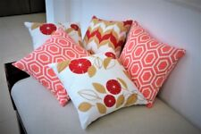 Red throw pillows set of 5, Coral Cushion covers, Geometric, modern floral 16""