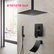 Matt Black Ceiling Mounted Bathroom Shower Head Faucets Set Hand Spray Mixer Tap