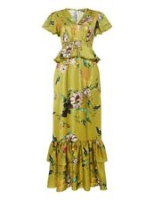 Biba Future Antique Green Pom Pom Trim Detail Satin Layered Maxi Dress Size 10