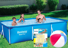 9in1 BestWay SWIMMING POOL 300 x 201 Rectangular Garden Above Ground Pool Steel