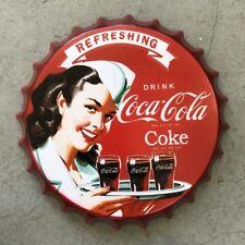 Coca Cola Vintage Wall Sign Retro Tin Plaque 1950's Man Cave Bottle Top Sign
