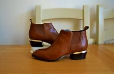 NEW RUSSELL+BROMLEY TAN LEATHER/LEATHER LINED CHELSEA ANKLE BOOTS UK 4 RRP £250