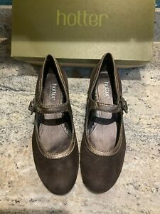 Hotter Valetta Brown Buttersoft Suede Mary Jane Shoes Size 6 EXF New With Defect