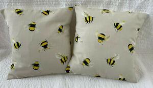 2 x Bumble Bee Cushion Covers 12 inch Black Yellow Beige Handmade New 31cm