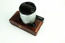 Coffee Leather Half case bottom bag grip for Fujifilm X-E2 X-E1 camera XE2 XE1