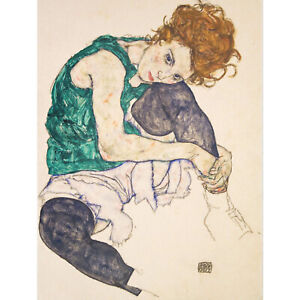 EGON SCHIELE SEATED WOMAN LEGS DRAWN UP ADELE HERMS ART PAINTING PRINT 12x16 inc