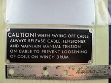Bag of 2 Military Winch Garwood Tulsa Nomenclature Instruction Plate