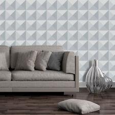 Geometric 3D Modern Luxury Futuristic Wallpaper Grey Square Triangle 41280 NEW