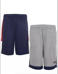 NEW FILA Boys' Youth 2-pack Shorts, Navy / Gray