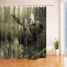 Elk In Foggy Forest Decor Home Fabric Shower Curtain Bathroom & 71*71inches
