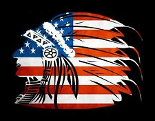 METAL MAGNET Native American Indian Chief Silhouette United States Flag USA