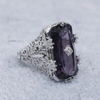 Vintage 925 Silber Ring Amethyst Edelstein Damen Edlen Schmuck women silver ring