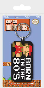 Super Mario Bros (Born In The 80's) Rubber Keychain/Keyring *OFFICIAL*