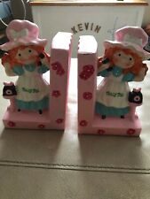 Vintage 1976 Polly Pal Pink Chalkware Book Ends