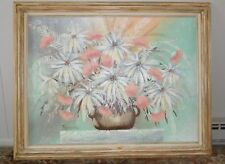Large Ferrante floral still life painting canvas 1980's post modern oil acrylic