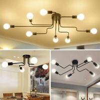 E27 4/6/8 Way Retro Ceiling Light Modern Vintage Industrial Metal Pendant Lamp