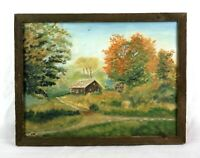 Vintage Mid C Primitive Naive Oil Painting of Autumn Country Landscape Signed