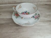 Gorgeous Vintage Footed Teacup & Saucer w/ Flowers Fine China Gold Trim Japan