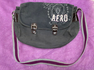 Aeropostale Canvas Cross body Messenger Bag Grey And Purple Adjustable Strap