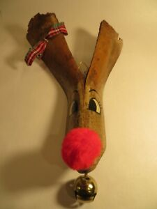 Deer Head Antlers Wall Hanging Funny Rustic Christmas Decoration with Red Nose