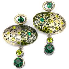 Snowflake Tribal Ethnic Earrings Aztec Dangle Jewelry Crystal Emerald Enamel New