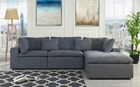 Classic Large Dark Grey Sectional Sofa, L Shape Fabric Couch with Wide Chaise...
