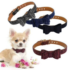 Dog Suede Leather Collar Small Cat Puppy Bowtie Collar Plaid Pet Necklace S M L