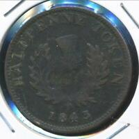 Canada NOVA SCOTIA, 1843 Halfpenny Token, Victoria - Very Good
